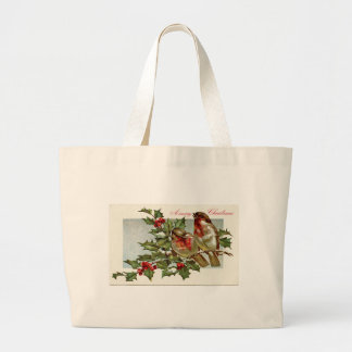 Vintage Birds and Holly Christmas Large Tote Bag