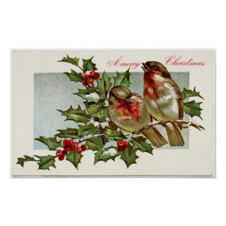 Vintage Birds and Holly Poster