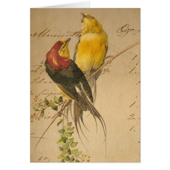 Vintage Birds and Ledger Paper Card