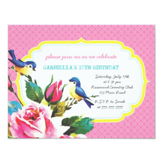 Vintage Birds and Roses Birthday Party Card