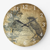 Vintage Birds and White Numbers Large Clock