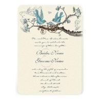 Vintage Birds Aqua & Hot Pink Wedding Invite