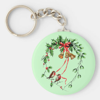 Vintage *Birds, Bells and Christmas Holly* Wreath Basic Round Button Keychain