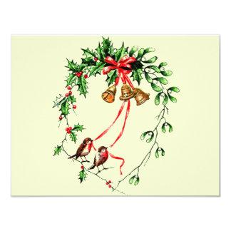 Vintage *Birds, Bells and Christmas Holly* Wreath Card