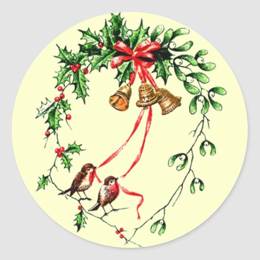 Vintage *Birds, Bells and Christmas Holly* Wreath Classic Round Sticker