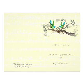 Vintage Birds Blue & Green Wedding Program