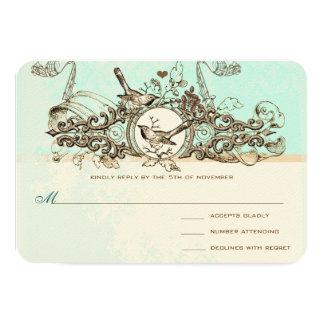 Vintage Birds Bronze Scroll  Wedding RSVP Card