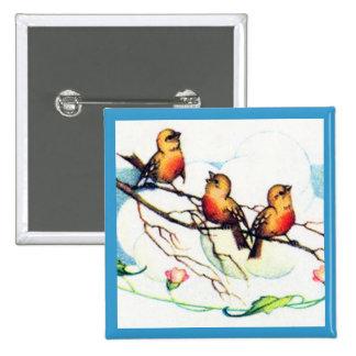 Vintage Birds Button