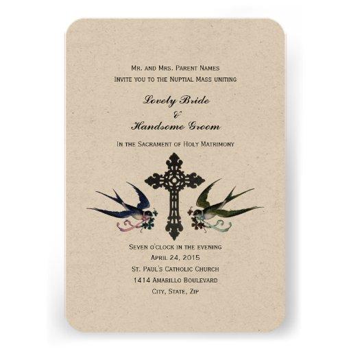 Vintage Birds Catholic Small Wedding Invitation 35 X 5 Invitation Card