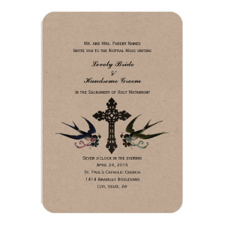 Vintage Birds Catholic Small Wedding Invitation
