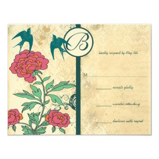 Vintage Birds Damask Cabbage Rose Wedding Invites