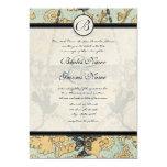 Vintage Birds Damask Chandelier Wedding Invitation