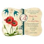 """Vintage Birds Damask Poppy Wedding Invitation 5"""" X 7"""" Invitation Card"""