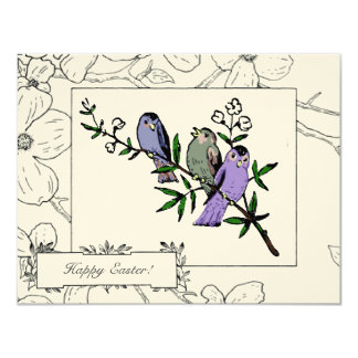 "Vintage Birds Easter Greetings 4.25"" X 5.5"" Invitation Card"