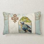 Vintage Birds Fleur de Lis Songbird Swirl Collage Pillow