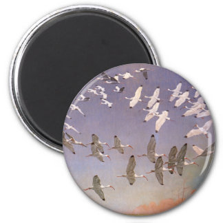 Vintage Birds, Flock of Ibis Flying Over Wetlands 2 Inch Round Magnet