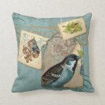 Vintage Birds Floral Postage Stamp Swirl Branch Throw Pillow