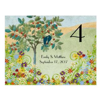 Vintage Birds Flower Swirl Wedding Number Card
