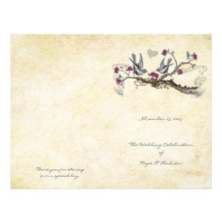 Vintage Birds Fuchsia & Gray Wedding Program