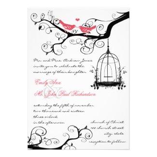 Vintage Birds Honeysuckle Pink Wedding Invite