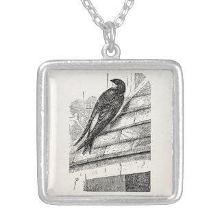Vintage Birds House Martin Swallow Retro Bird Silver Plated Necklace