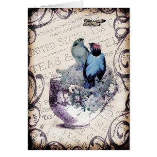 Vintage Birds In Teacup Greeting Card