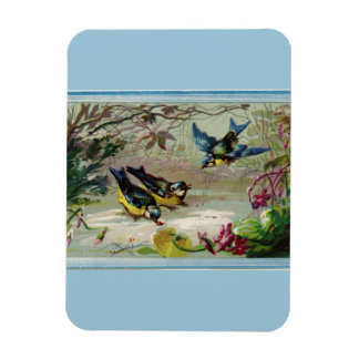 Vintage Birds in the Snow Photo Magnet