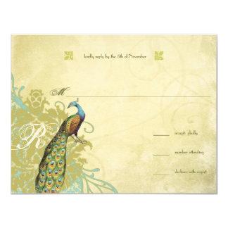 Vintage Birds Lagoon Endive Aged Damask RSVP 4.25x5.5 Paper Invitation Card