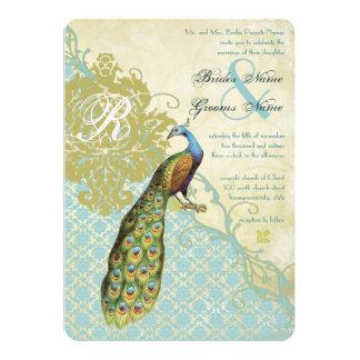 Vintage Birds Lagoon Endive Damask Wedding 5x7 Paper Invitation Card