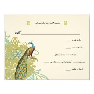 Vintage Birds Lagoon Endive Damask Wedding RSVP 4.25x5.5 Paper Invitation Card