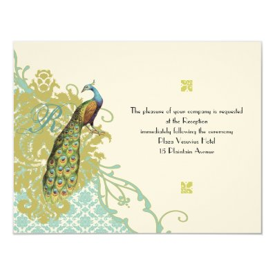 Vintage Birds Lagoon Endive Damask Wedding RSVP 4.25x5.5 Paper Invitation Card