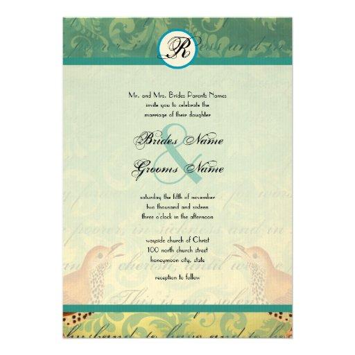 Vintage Birds Lagoon Endive Wedding Invitation