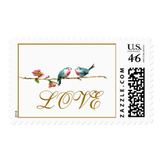Vintage Birds Love Postage Stamps