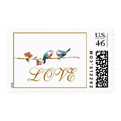 Vintage Birds Love Postage Stamps