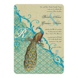 Vintage Birds Margarita Hawaiian Blue Damask 5x7 Paper Invitation Card
