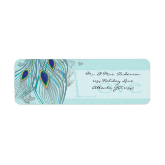 Vintage Birds Musical Love Peacock Feather Address Label