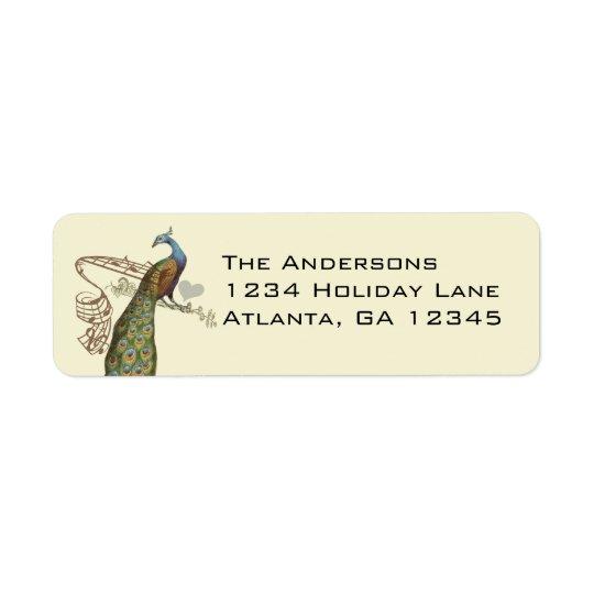 Vintage Birds Musical Peacock Address Labels