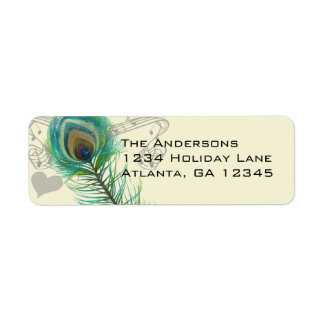 Vintage Birds Musical Peacock Feather  Address Label