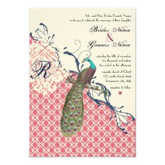 Vintage Birds Navy Deep Raspberry Damask Wedding 5x7 Paper Invitation Card