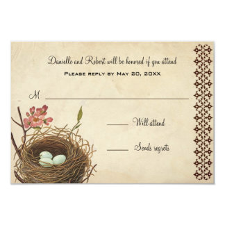 Vintage Bird's Nest Custom Response Card
