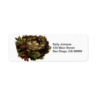 Vintage Bird's Nest Eggs and Holly Return Address Label