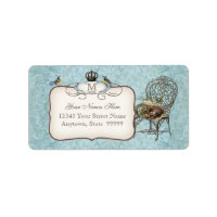 Vintage Birds' Nest in Chair, Wedding Invitation Label