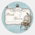 Vintage Birds' Nest in Chair, Wedding Invitation Sticker