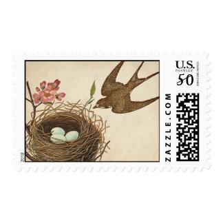 Vintage Bird's Nest Postage