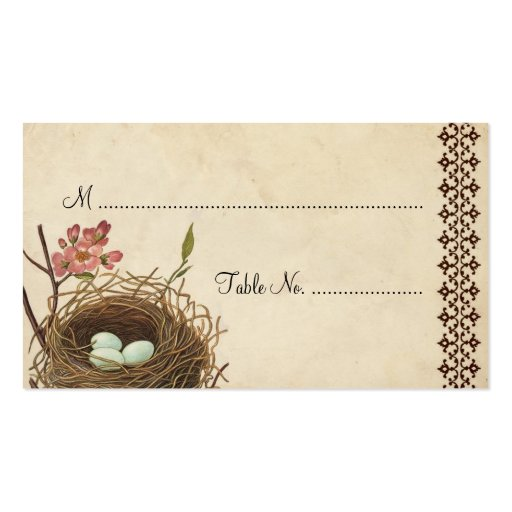 Vintage bird 39 s nest table place card zazzle for Table 52 cards