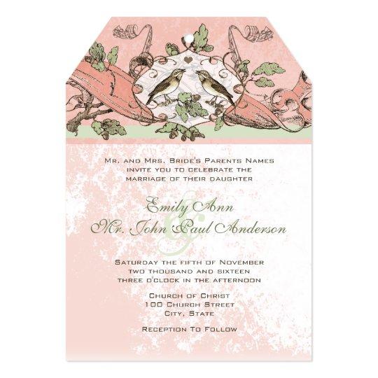 Vintage Birds Oak Tree Scroll  Wedding Invitation
