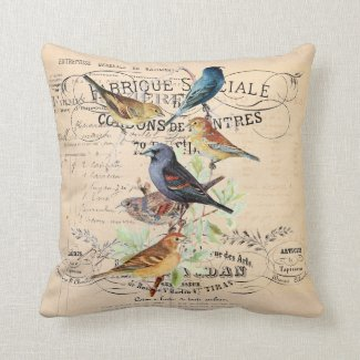 Vintage Birds on Antique Typography Pillow