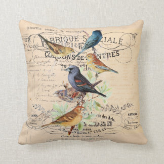 Vintage Birds on Antique Typography Throw Pillow