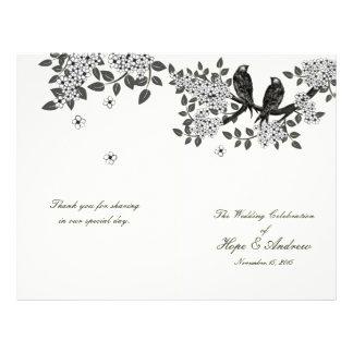 Vintage Birds on Branch Bi-Fold Wedding Program