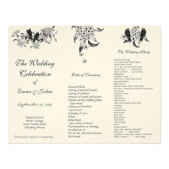 Vintage Birds on Branch TriFold Wedding Program